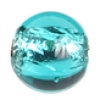 Glass Lamp Bead Round 8mm Capri Blue/Silver Lined